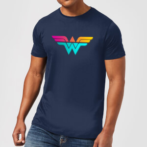 Justice League Neon Wonder Woman Men's T-Shirt - Navy