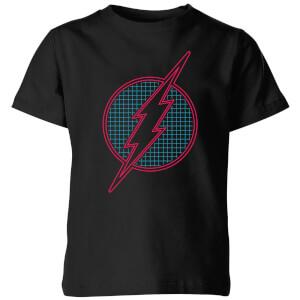 Justice League Flash Retro Grid Logo Kids' T-Shirt - Black