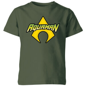 Justice League Aquaman Logo Kids' T-Shirt - Forest Green