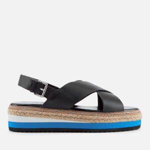 Dune Women's Karli Leather Flatform Sandals - Black