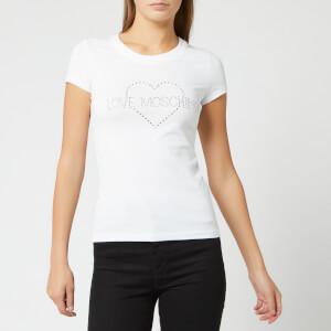 Love Moschino Women's Diamonte Logo T-Shirt - Optical White