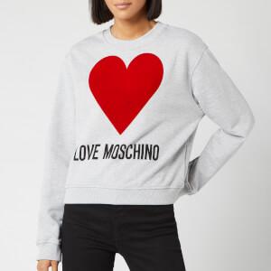 Love Moschino Women's Heart Sweater - Light Grey