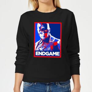 Avengers Endgame Captain America Poster Women's Sweatshirt - Black
