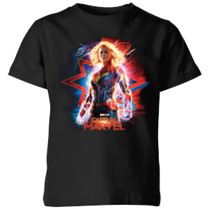 T-Shirt Captain Marvel Poster - Nero - Bambini
