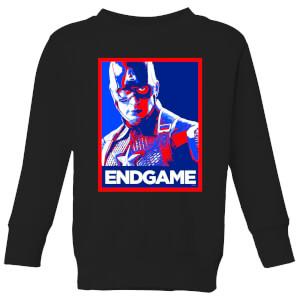 Avengers Endgame Captain America Poster Kids' Sweatshirt - Black