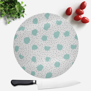 Mint Green Blobs And Polka Dots Round Chopping Board