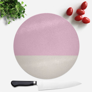 Pink And Cream Stripes Round Chopping Board