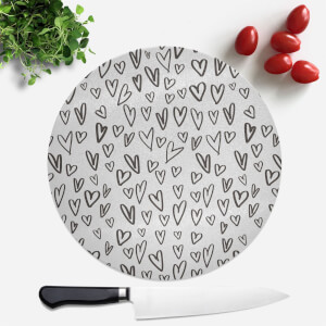 Black Heart Pattern Round Chopping Board