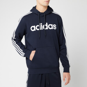 adidas Men's Essential 3 Stripe Pullover Hoodie - Legend Ink/White