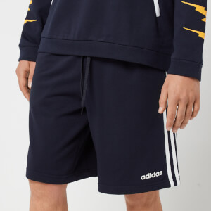 adidas Men's Essential 3 Stripe Fleece Shorts - Navy