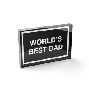 Glass Block World's Best Dad Glass Block - 80mm x 60mm