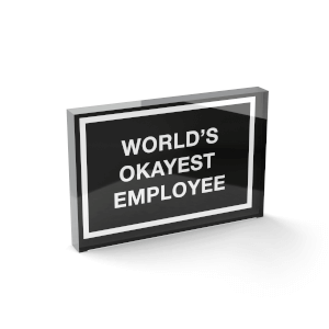 Glass Block World's Okayest Employee Glass Block - 80mm x 60mm