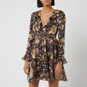 Zimmermann Women's Veneto Plunge Short Dress - Chocolate Paisley