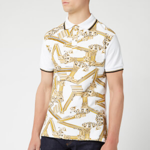 Versace Jeans Men's Patterned Polo Shirt - Bianco Ottico