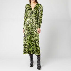 Ganni Women's Silk Stretch Satin Dress - Lime Tiger