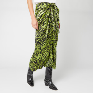 Ganni Women's Silk Stretch Satin Skirt - Lime Tiger