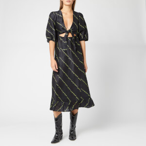 Ganni Women's Silk Linen Dress - Black