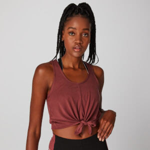 MP Tie Front Crop Vest - Port