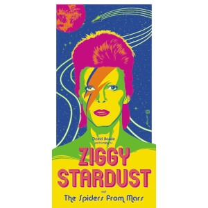 David Bowie - 'Ziggy Startdust' 12 x 24 Inches Limited Edition Screenprint by Brian Miller (Neon Colour Variant)