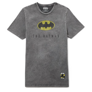 Batman 80th Anniversary Logo T-Shirt - Black Acid Wash