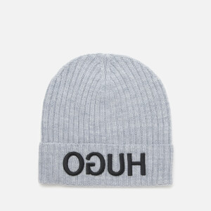 HUGO Men's Reverse Logo Knitted Beanie Hat - Grey