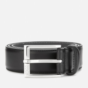 BOSS Men's Ellotyo Leather Stitching Detail Belt - Black