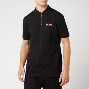 HUGO Men's Deking Zip Chevron Logo Polo Shirt - Black/Red