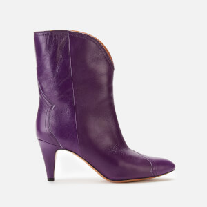 Isabel Marant Women's Dythey Shiny Western Heel Boots - Purple