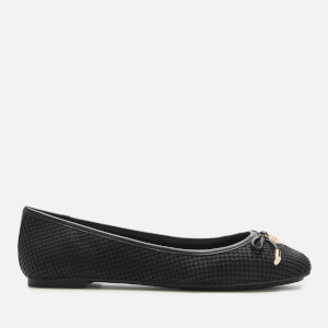 Dune Women's Harpar Leather Ballet Flats - Black Reptile