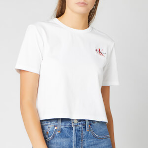 Calvin Klein Jeans Women's Monogram Embroidery Cropped T-Shirt - Bright White