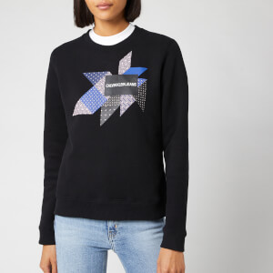 Calvin Klein Jeans Women's Quilt Graphic Crew Neck Sweatshirt - CK Black