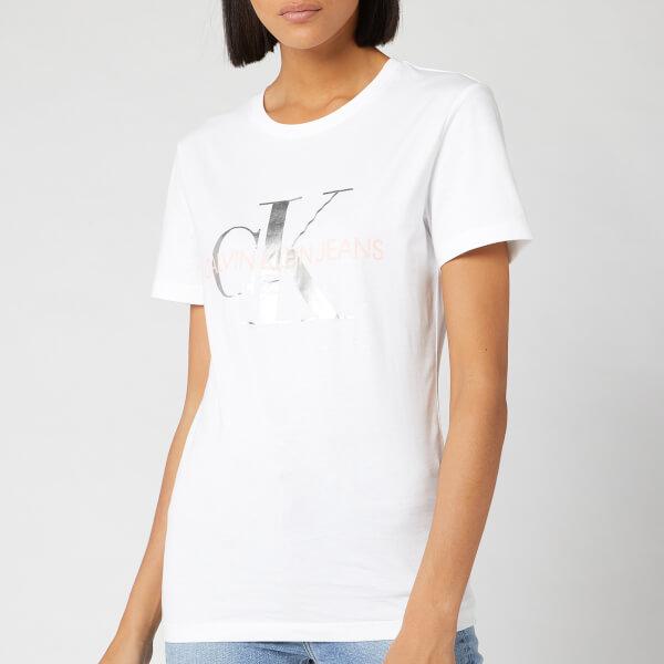 Calvin Klein Jeans Women's Metallic Monogram Slim Fit T-Shirt - Bright White