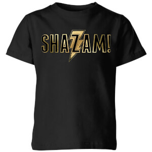 Shazam Gold Logo Kids' T-Shirt - Black