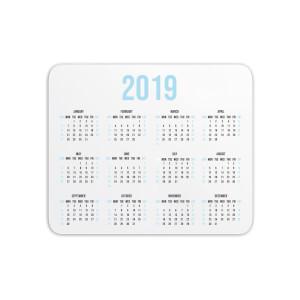 Mouse Mats 2019 Calendar Blue Mouse Mat