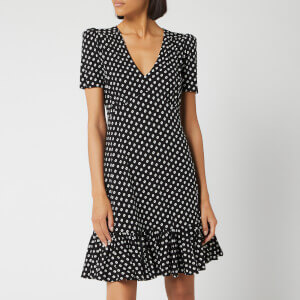 MICHAEL MICHAEL KORS Women's Dot Ruffle V Neck Dress - Black/Bone