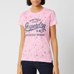 Superdry Women's Vintage Goods Star Aop Entry T-Shirt - Cherry Blossom Burn Out