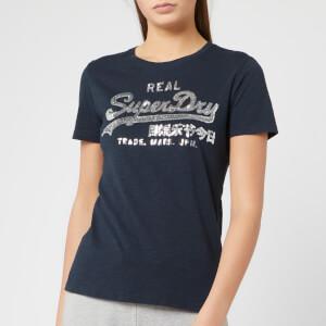Superdry Women's V Logo Glitter Sequin Entry T-Shirt - Eclipse Navy Slub
