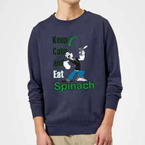 Popeye Keep Calm And Eat Spinach Sweatshirt - Navy