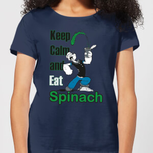 Popeye Keep Calm And Eat Spinach dames t-shirt - Navy