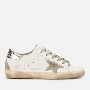 Golden Goose Deluxe Brand Women's Superstar Leather Trainers - White/Silver Print