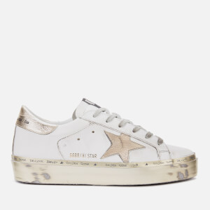 Golden Goose Deluxe Brand Women's Hi Star Leather Flatform Trainers - White/Gold Sparkle