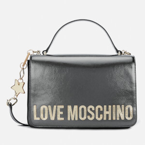 Love Moschino Women's Logo Charm Shoulder Bag - Pewter