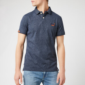 Superdry Men's Orange Label Jersey Polo Shirt - Navy Grit Feeder