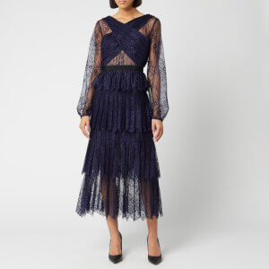 Self-Portrait Women's Cross Front Fine Lace Maxi Dress - Navy