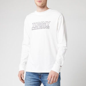 Tommy Jeans Men's Contoured Corporate Logo Long Sleeve T-Shirt - Classic White