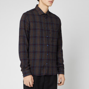 YMC Men's Curtis Wool Check Shirt - Navy