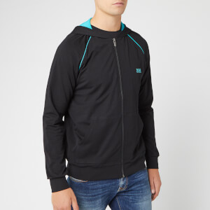BOSS Men's Hooded Zip Jacket - Black/Turquoise
