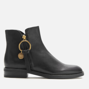 See By Chloé Women's Leather Flat Ankle Boots - Nero