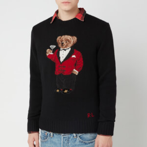 Polo Ralph Lauren Men's Bear Embroidered Wool Blend Jumper - Black