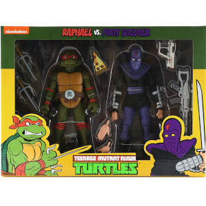 "NECA Teenage Mutant Ninja Turtles 7"" Scale Action Figure Target Exclusive Raphael Vs Foot Solider 2 Pack"